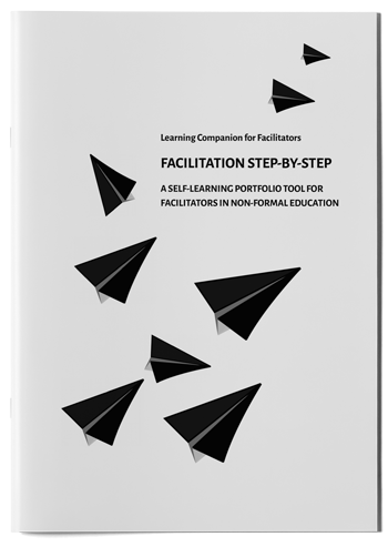 "Mockup photo of cover of the publication ""Facilitation step-by-step"""