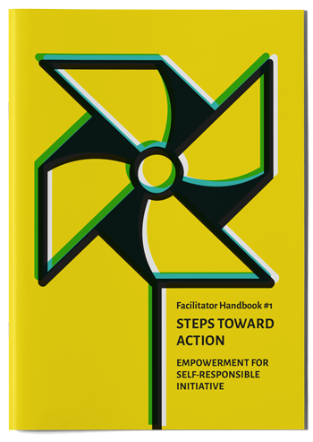 "Mockup photo of cover of the publication ""Steps toward action"""