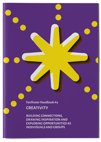 "Mockup photo of cover of the publication ""Creativity Handbook"""